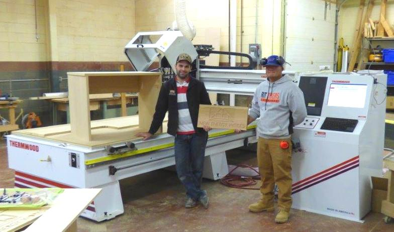Marty and Matt, our two CNC gurus, showed off some of the new router's capabilities (and their own CNC knowledge) producing a large-scale version of our logo.