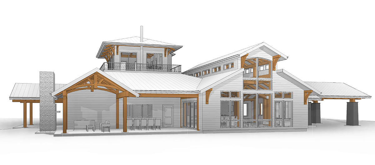 New Energy Works Oregon Timber Frame Home Rendering