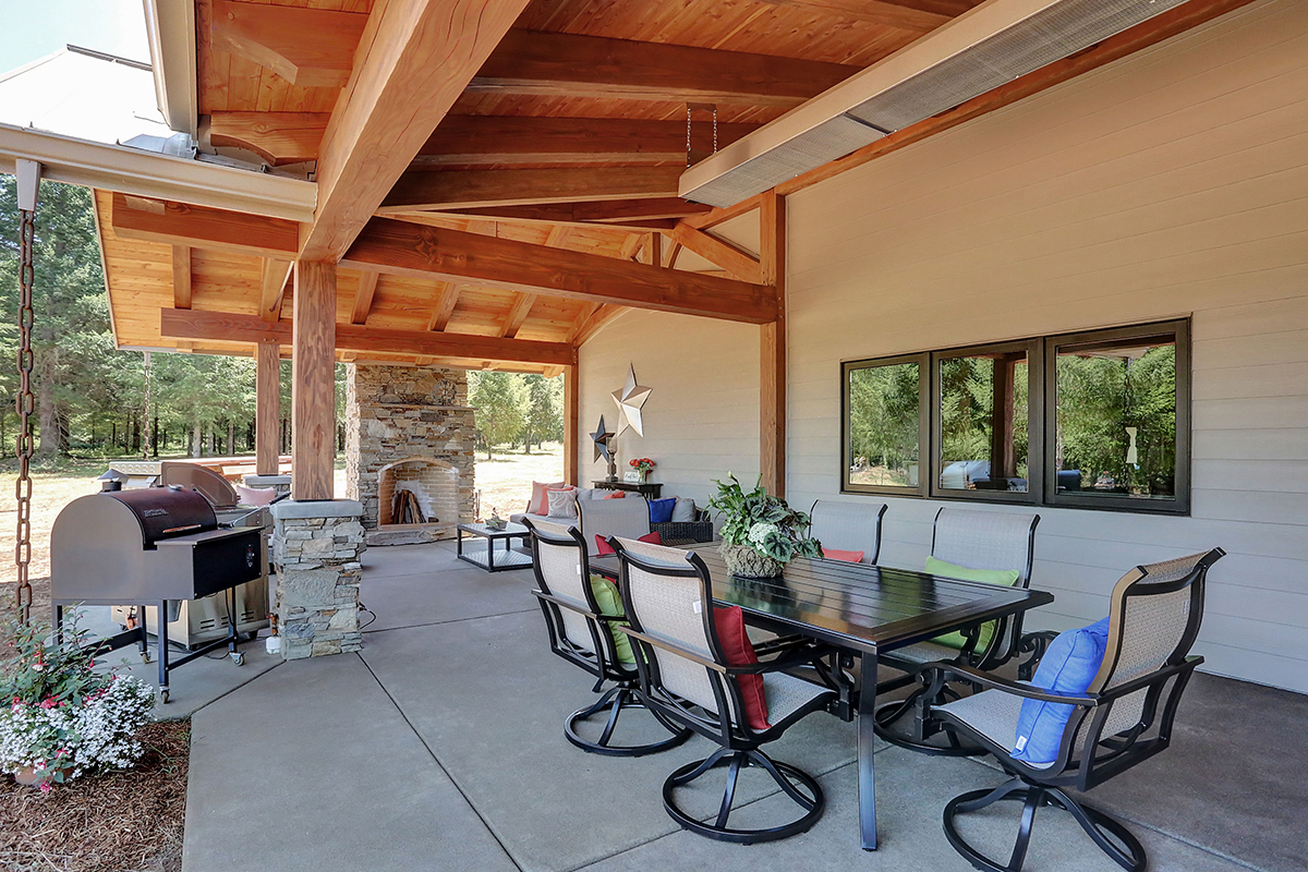 New Energy Works Oregon Timber Frame Home Back Patio Space