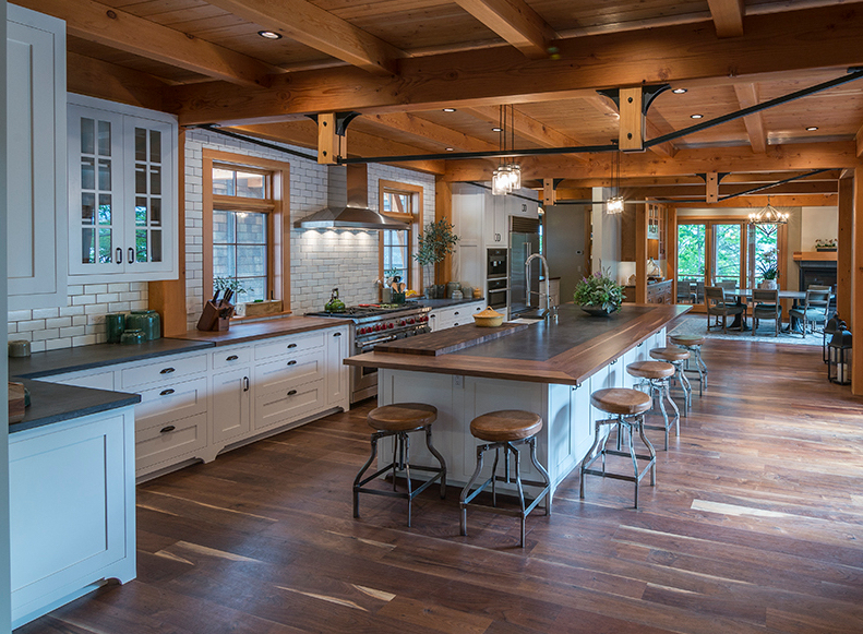 Local timber frame custom kitchen cabinetry