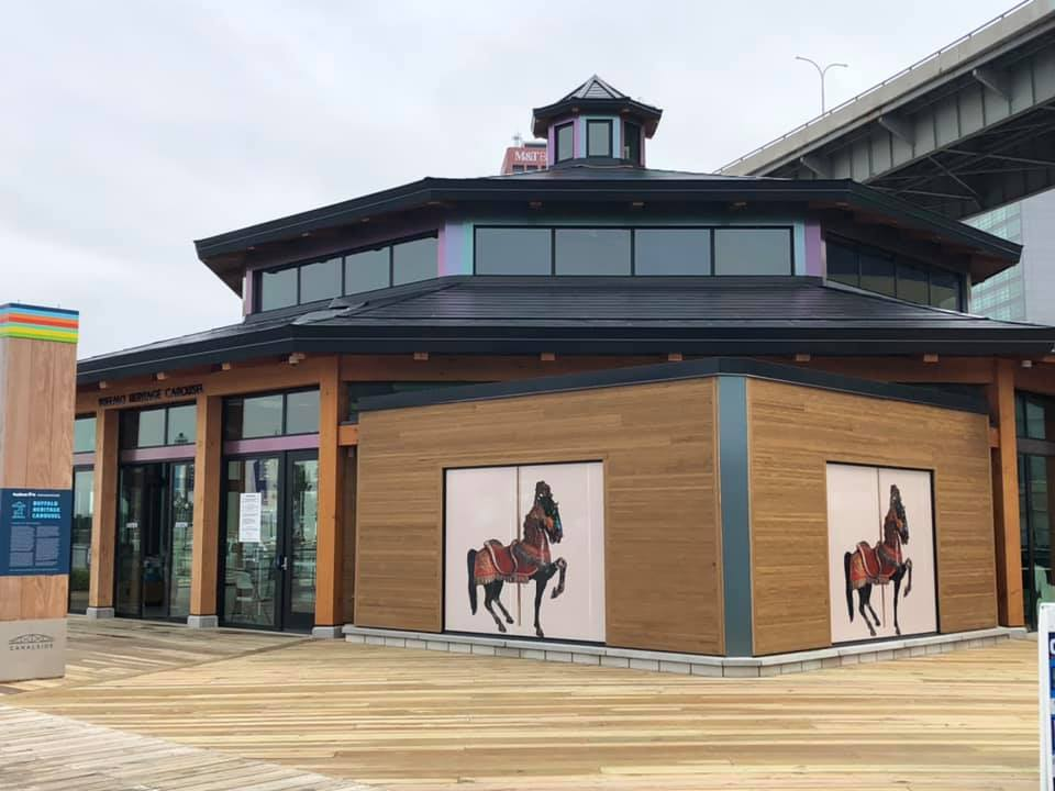 Timber Frame Carousel with New Energy Works and The Buffalo Heritage Carousel,Inc.