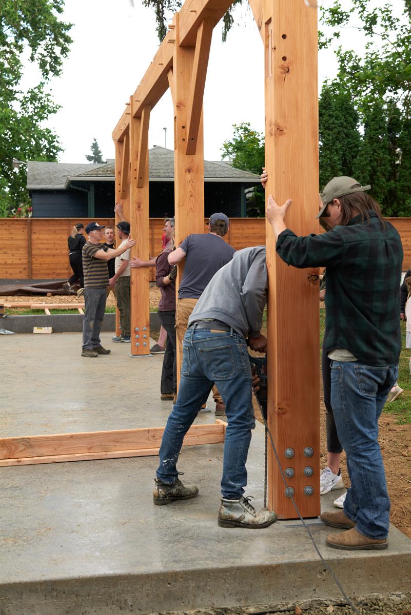 Timber Frame Pavilion Portland Oregon—Community Raising—New Energy Works