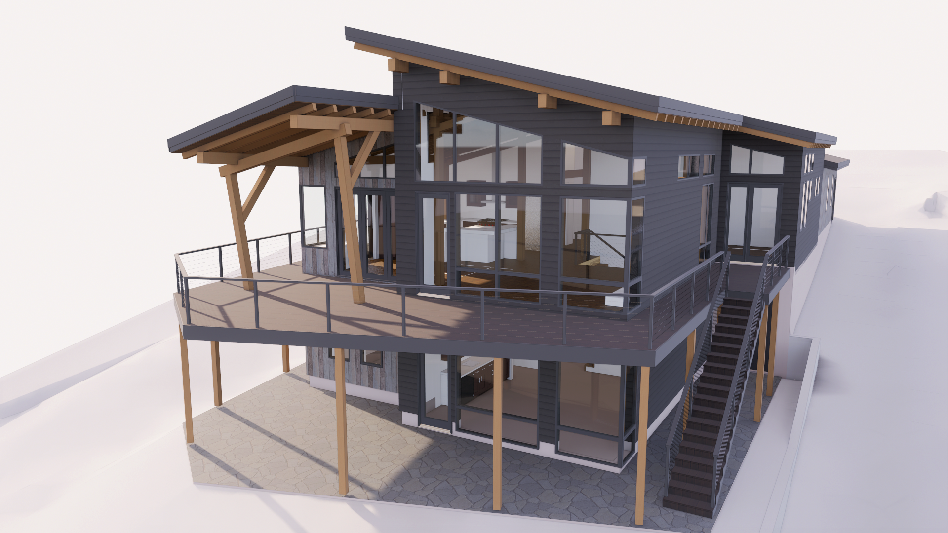 Rendering of timber frame exterior of lake home design project.