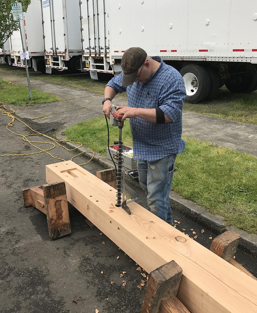 Darren drilling into a Douglas fir timber