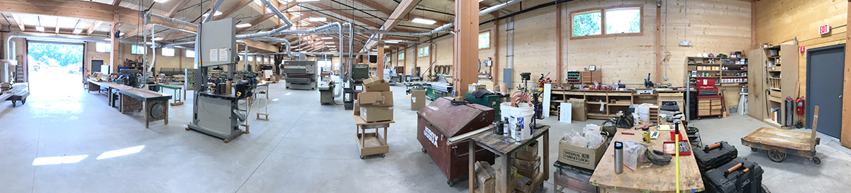 A full panorama of the NEWwoodworks half of our new CLT building. They should be making dust in the next few weeks.