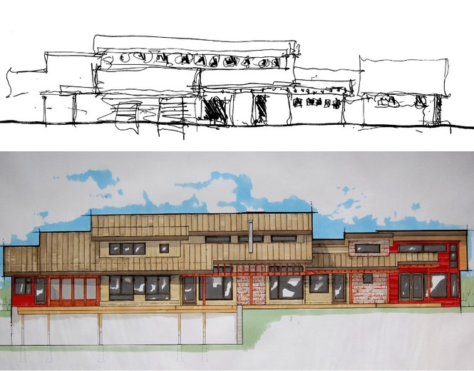 Design drawings progress from sketch to finalized rendering that includes suggested exterior materials and colors.