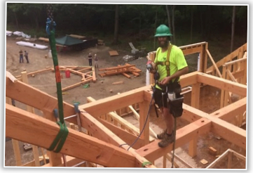 Thanks to Mike W, Timber Frame Champion on this project, for sharing his comments, leadership, and skills.