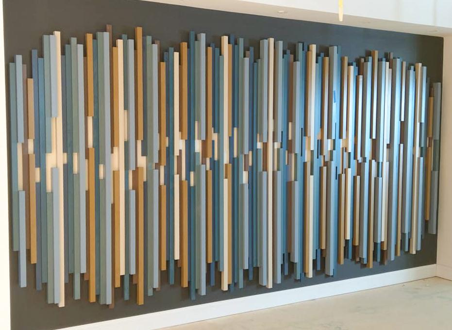 NEWwoodworks fine woodworking custom made colorful slats art installation