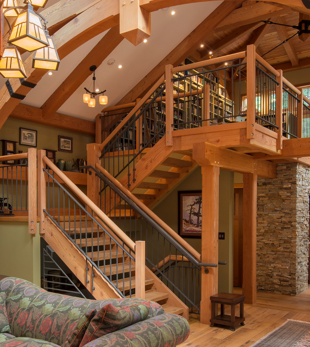 The stringers for this floating stair were cut using the CNC. Photo by Don Cochran Photography.