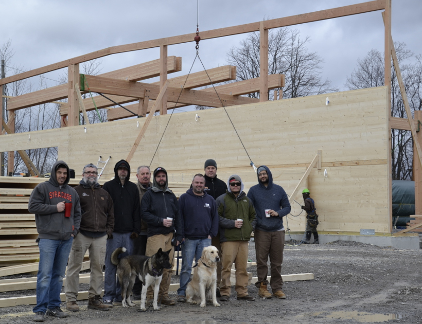 The NEWwoodworks crew on CLT raising day this past January.