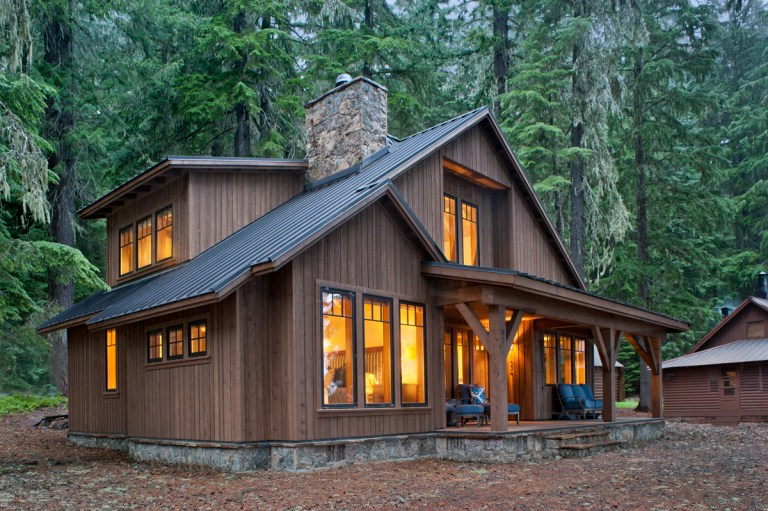 """The """"replacement"""" cabin was required to maintain the same footprint/foundation area as the original structure and could not exceed 1200 sq ft on the ground level or 600 sq ft in the loft, according to the US Forest Service. Photo (c) Loren Nelson Photography."""