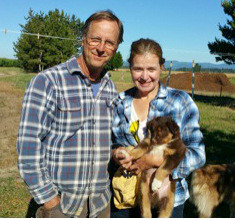 Phil and Rocio with their new Aussie pup Sherlock.