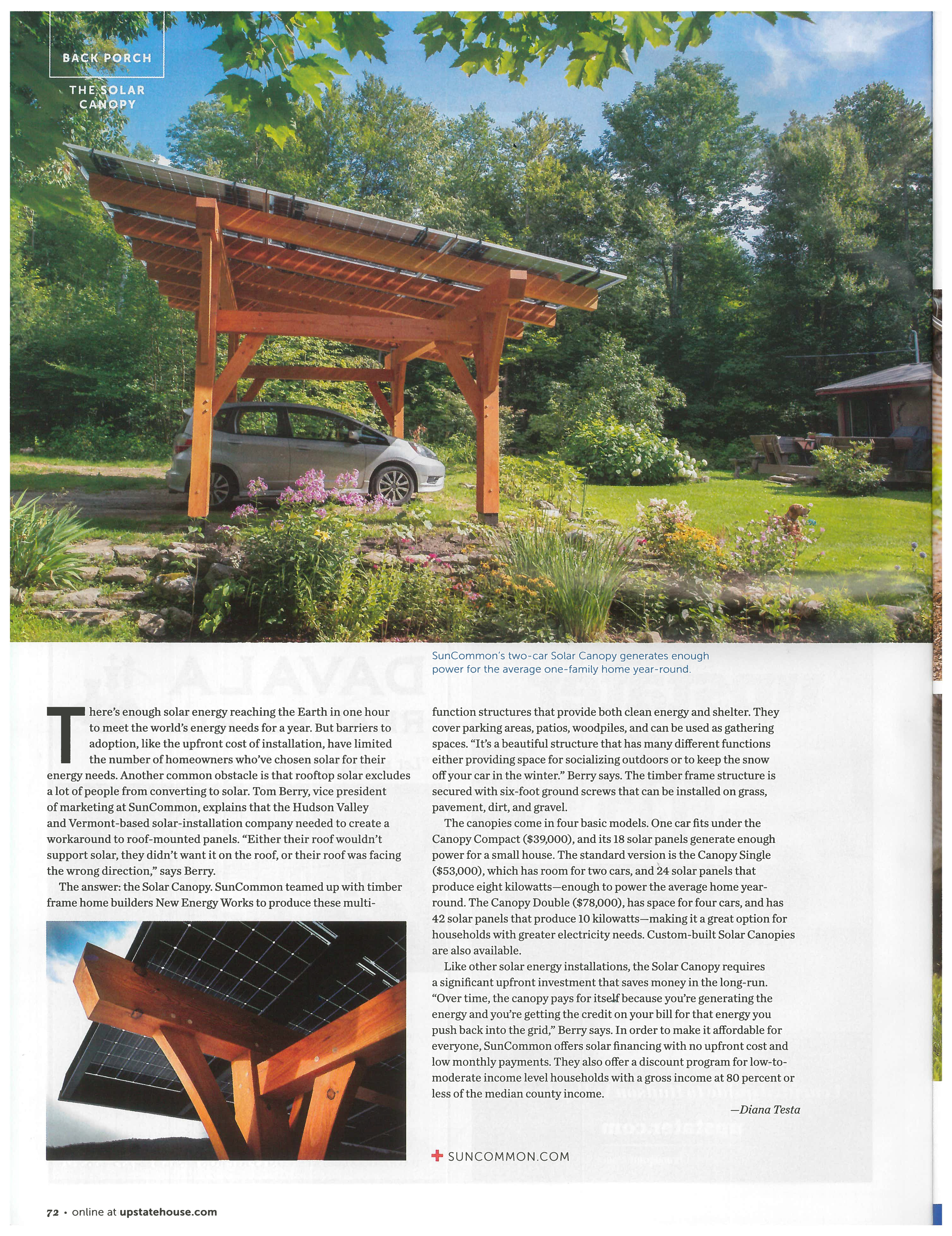 Timbered Solar Canopy with SunCommon and New Energy Works featured in Upstate House Summer 2021