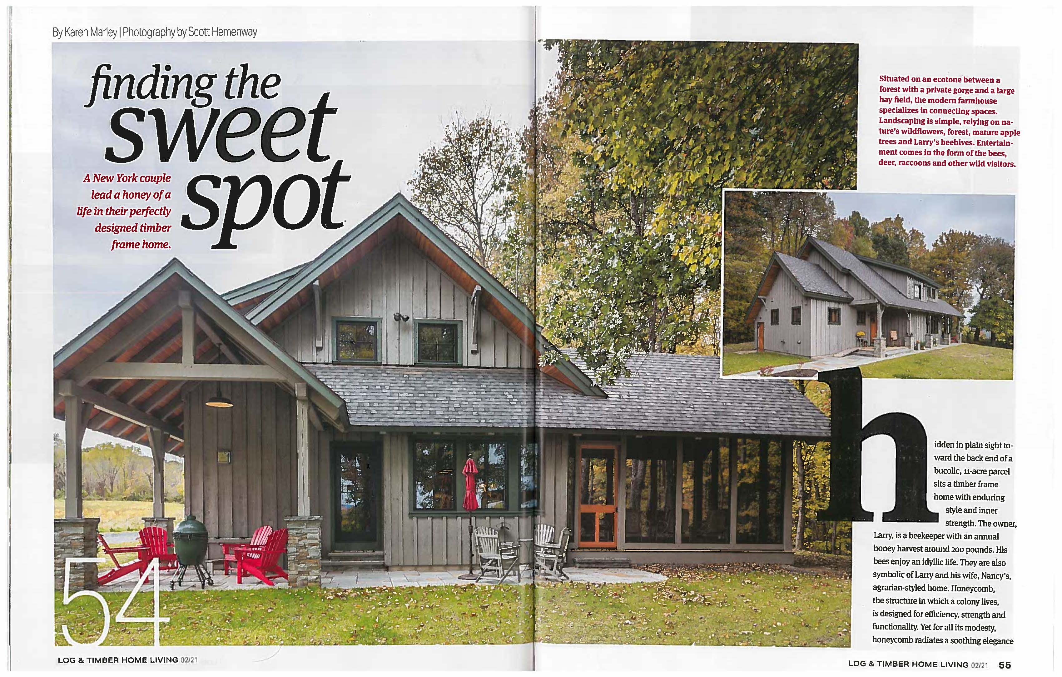 "Click here for a PDF download of ""Finding the Sweet Spot"", Log & Timber Living Jan/Feb 2021"