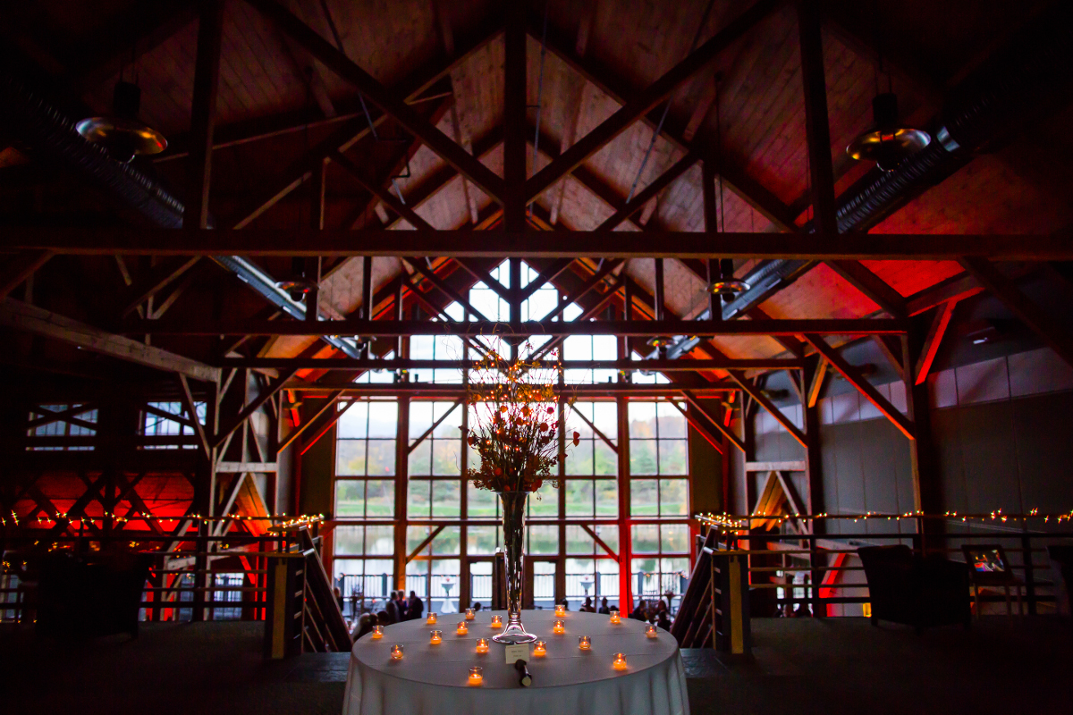 Reception ready, The Lodge at the William Noah Allyn (Welch Allyn) Conference Center. Photo c Mary Buttoph.