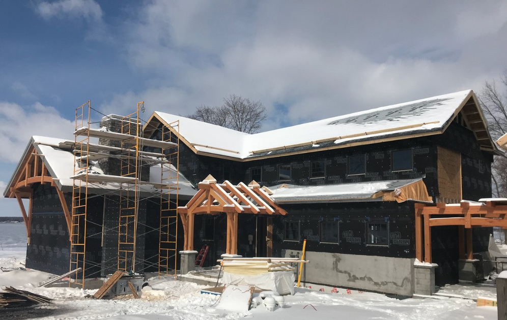The enclosure on the Allen's Point project on Cayuga Lake in New York is nearing completion. Next up: interior details and finalized decor.