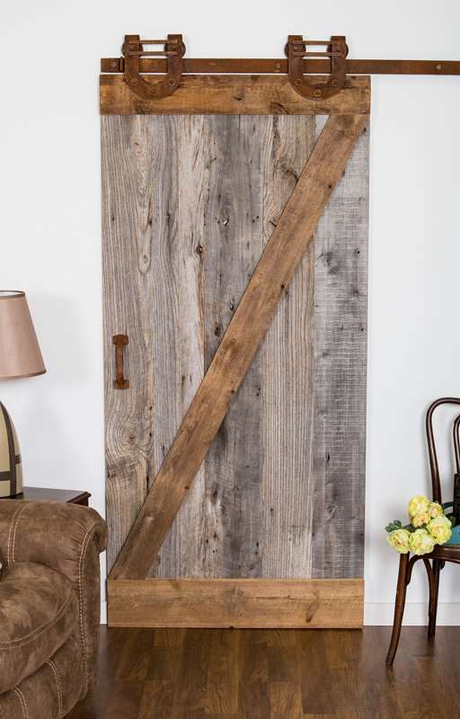 "Reclaimed American Prairie wood in a ""z"" door style with Leatherneck hardware."