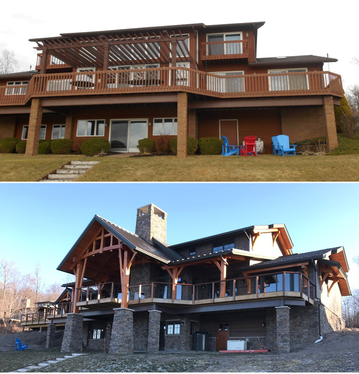 The lake side of the home before (top) and with the remodel nearly complete (bottom).