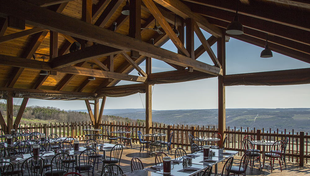 Bully Hill Vineyards restaurant has seating inside and out overlooking Keuka Lake.