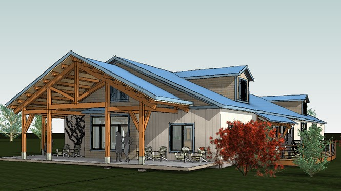 Plans include new covered space created with a timber bent and purlins.