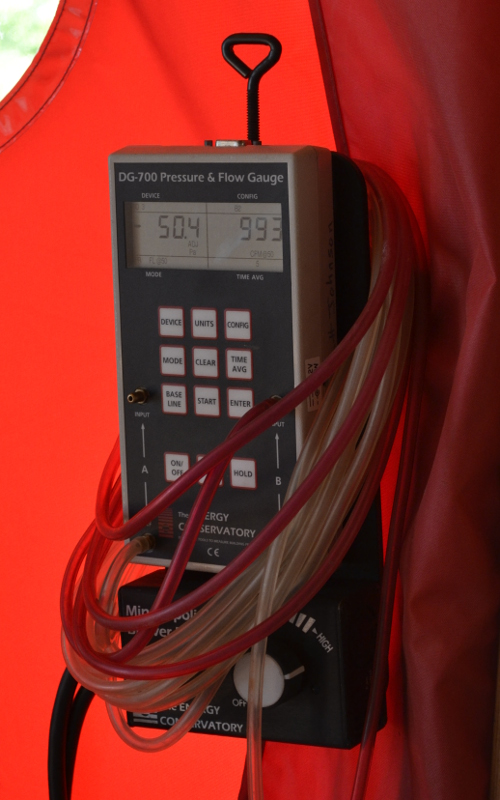 The blower door test performed in June on one of our timber frame homes, which is nearing completion, achieved a 1.5 ACH50.