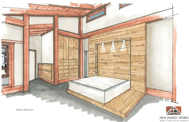 """An interior design concept sketch includes an extra large bed platform to accommodate one of the family dogs, """"Hero""""."""
