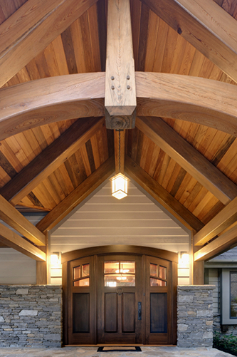 Big or small, entry porches make an impression. Combined with peeled posts, reclaimed timbers, curved bottom chord trusses, flowers, benches, and custom doors they are unmatched by their vinyl, composite, and metal competitors.