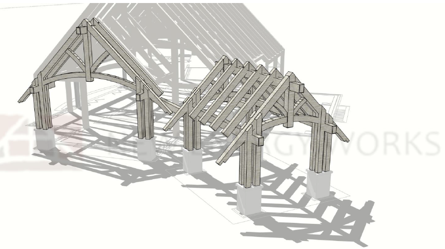 exterior view of timber frame raising