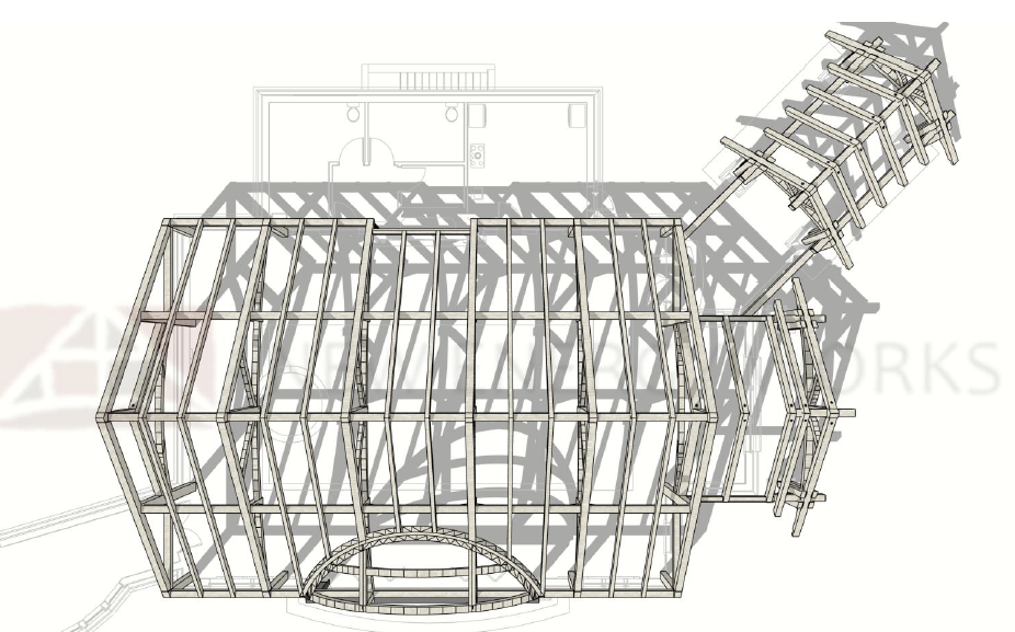 aerial view of timber frame raising