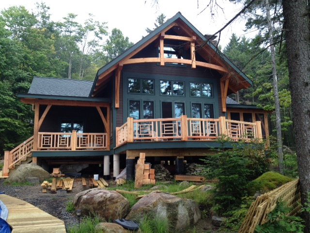 How about a cabin on the lake? Peter and his family have nearly completed their timber frame on Honnedaga Lake in the ADKs. Accessible only by boat, this is the perfect location for some folks, daunting for others. What do you think?