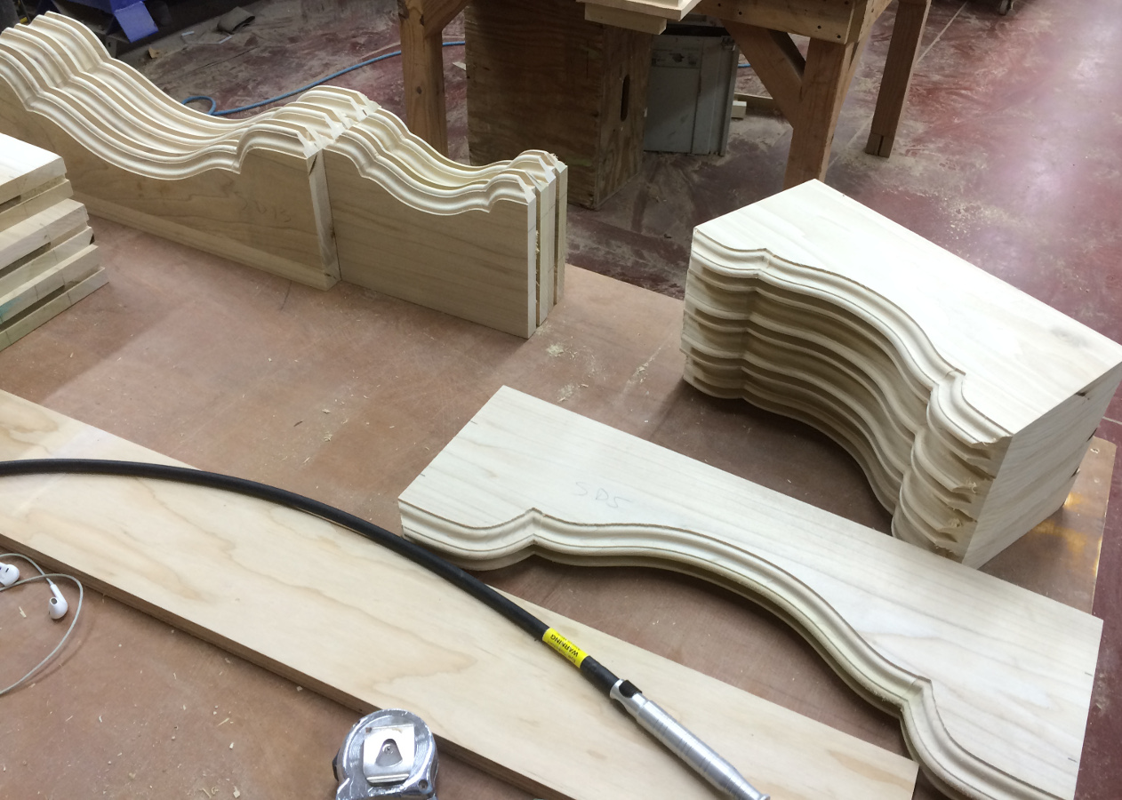 Form fabrication, in this case Oak door parts, is another strength of CNC integration.