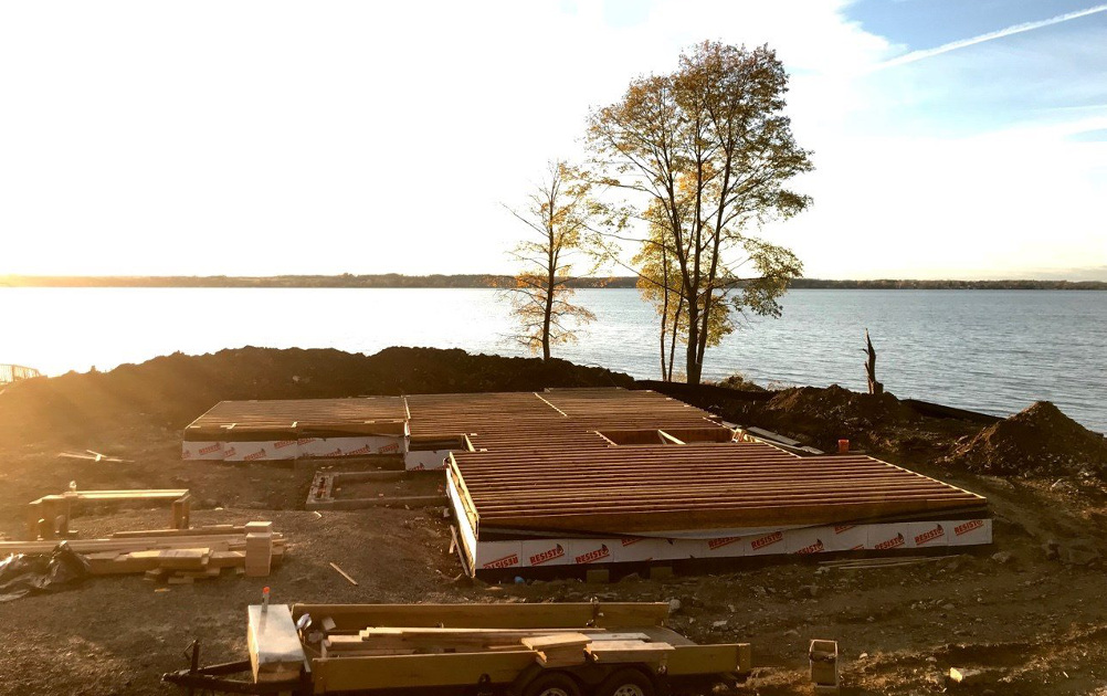 Views all around! Our build team has been enjoying the lake while completing the foundation and floor framing for the Allen's Point home. They'll continue readying the project for the timber frame raising taking place later this month.