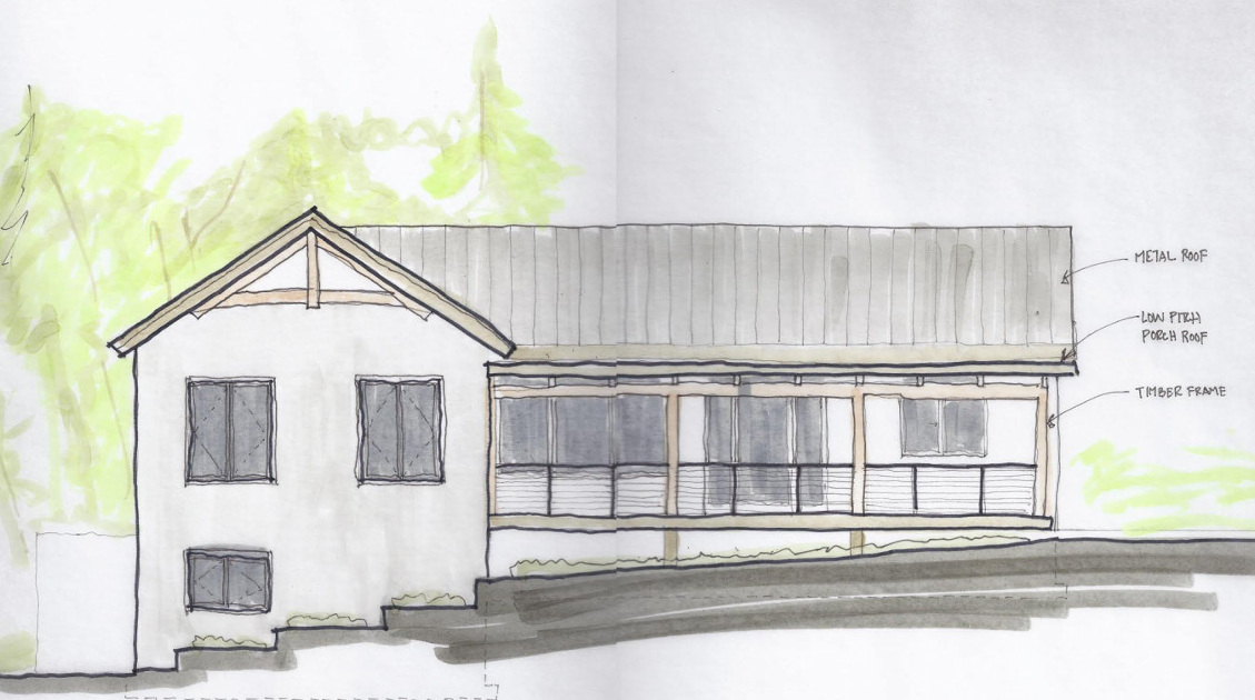 Entering the schematic design phase, this front elevation gives mass and shape to plans for this CA home.