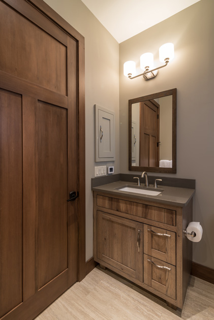 Kitchen, benches, bath vanities and more were crafted by NEWwoodworks for Laurie and Dan's home.