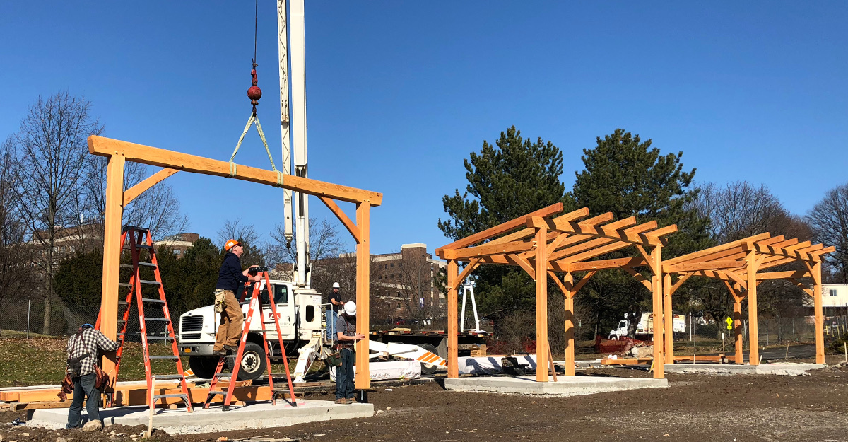 Proving we can have blue skies in the Winter, three bike shelters were raised in a prominent city park as part of a larger renovation.