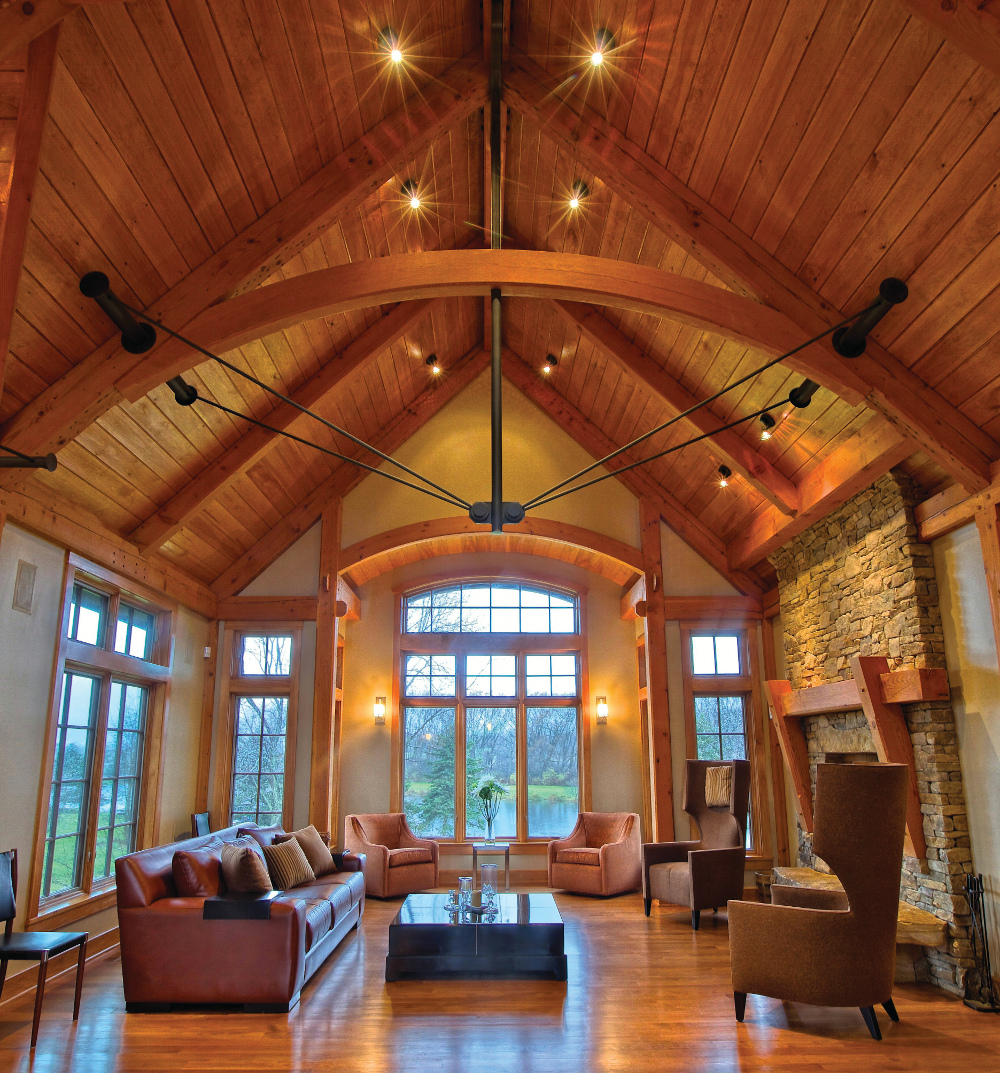 The project that started this conversation…what do you think of the curving bottom chord of this timber and steel truss? Solid or glulam? (Check out the end of this post for the answer.)
