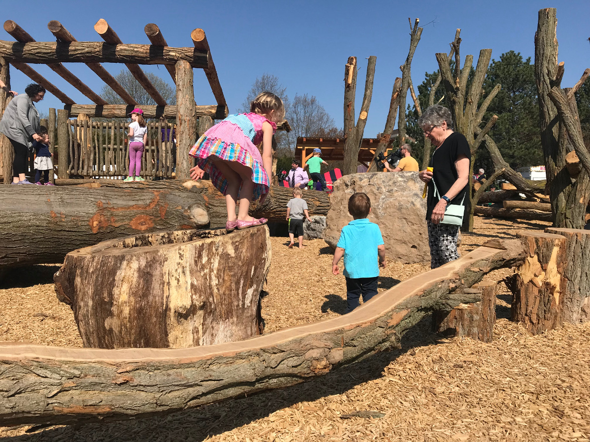 Many young explorers and adventurers amidst the natural elements of Lilac Adventure Zone Playground.