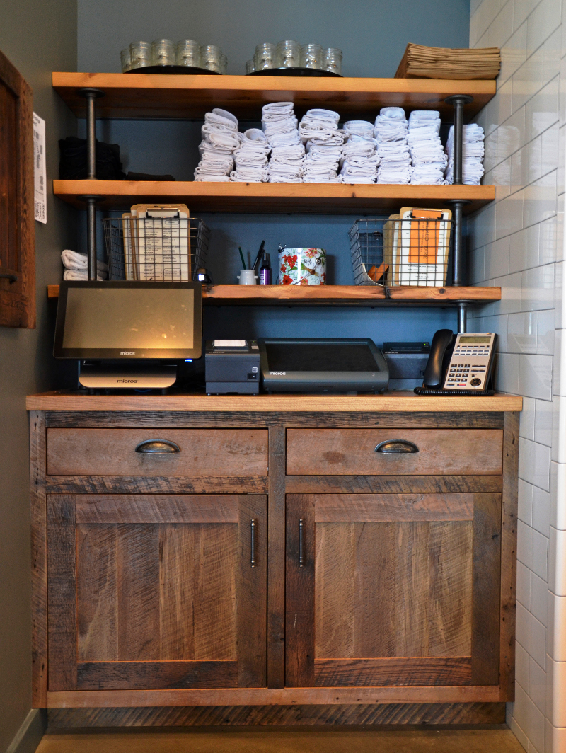 The command center as designed for a commercial space takes form as a cashier and wait staff station within Kindred Fare, a favorite eatery in Geneva, NY.