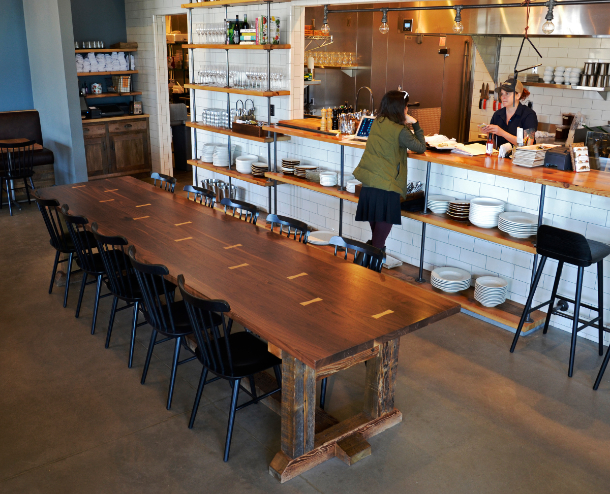 A walnut communal table was the beginning of Kindred Fare, one of NEWwoodworks largest collaborative commercial projects.