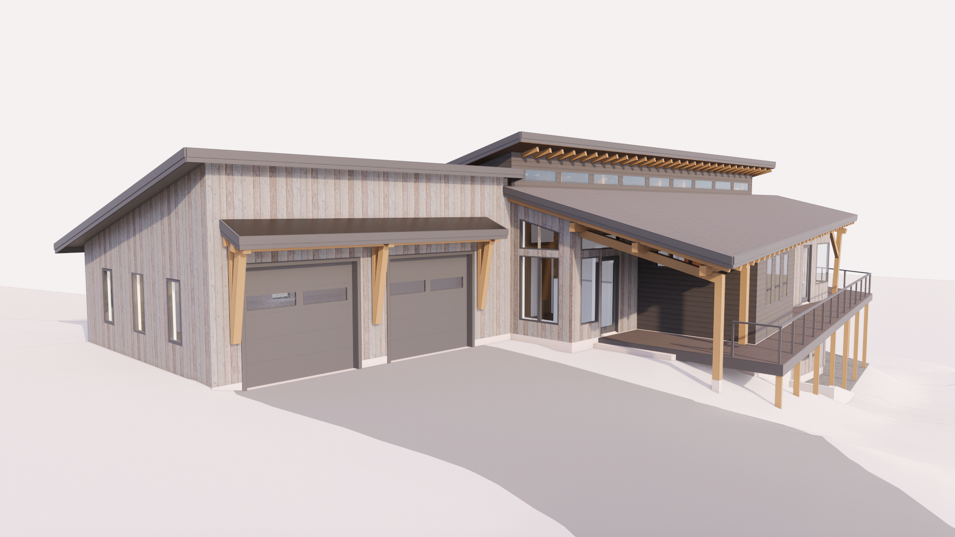 Timber frame lake home design entry view with garage.