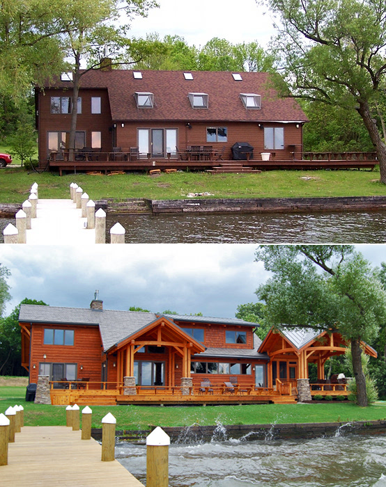 Before and after. This cottage home's lakeside facade is totally different thanks to quad post porches connected by a huge deck.