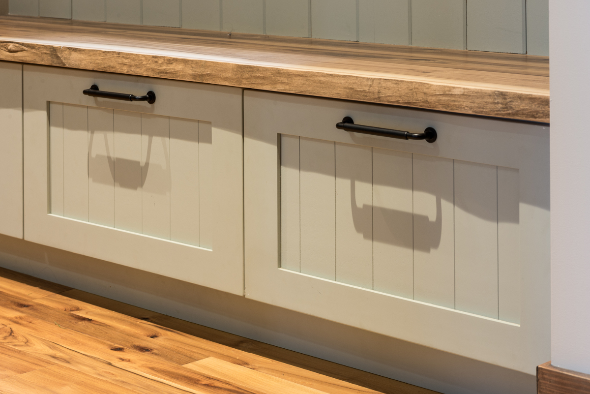 Site-harvested hickory was salvaged and used for bench tops and the kitchen island top.
