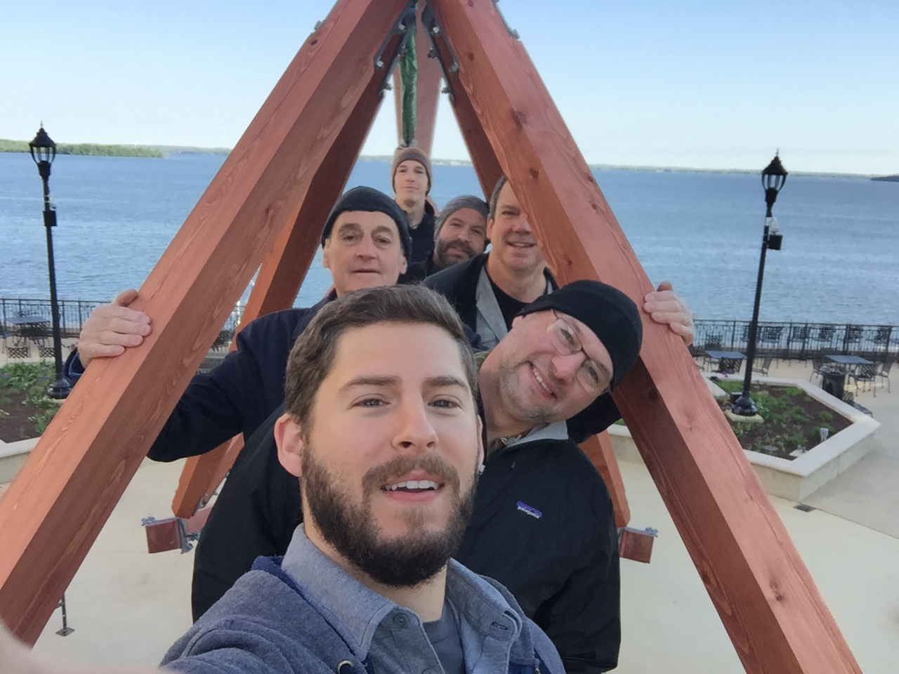 My co-workers along with Richard posed on the finished bridge. Front to back: Sean, me, Richard, Jonathan, David, and Quinn.