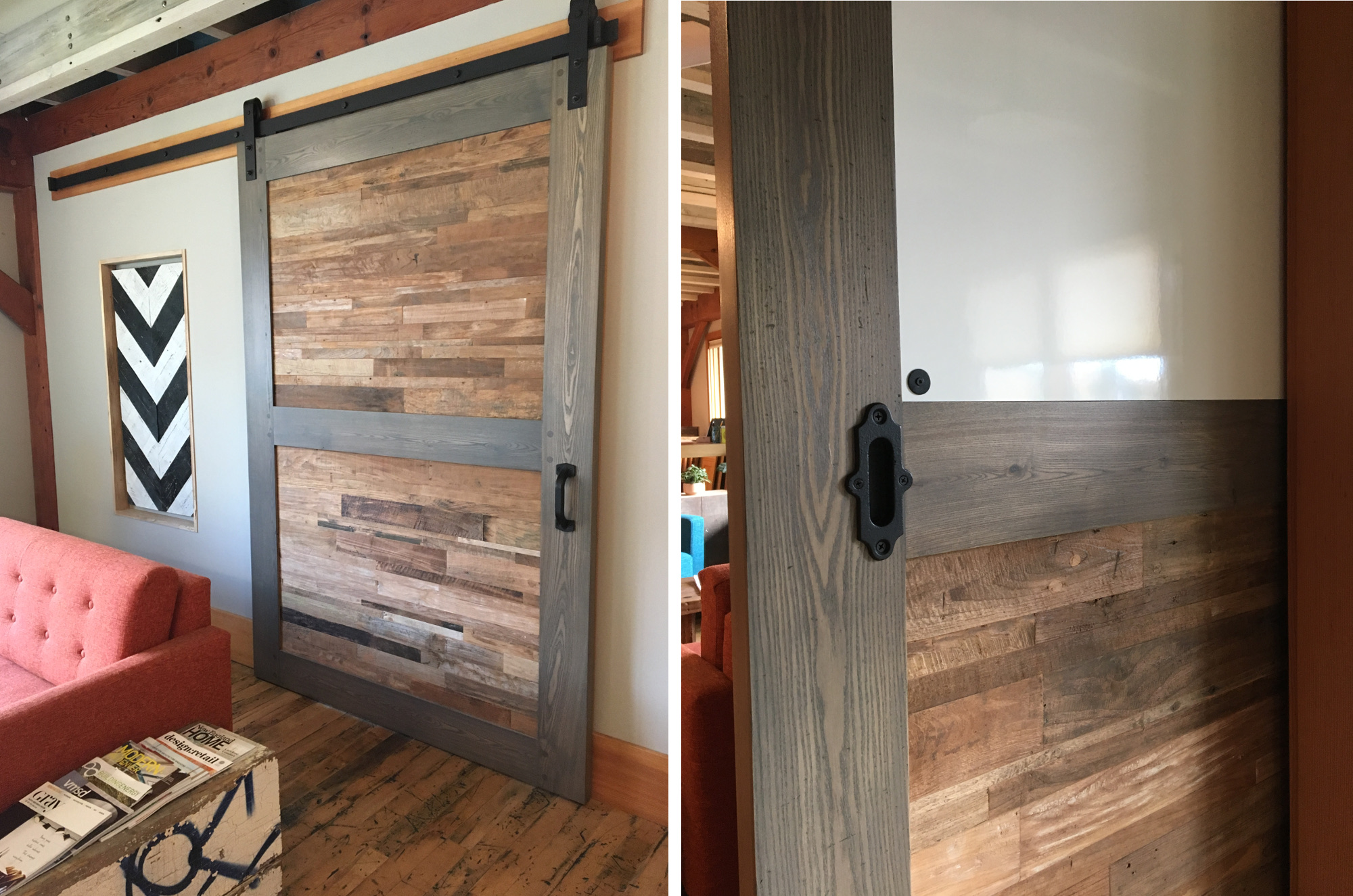 Combining Ash and Reclaimed Indonesian Teak with blackened metal hardware on the front, this showroom door also features a whiteboard on the interior office side with minimal exposed hardware.