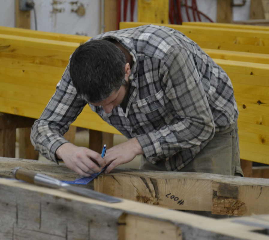 Speaking of unusual, here Pete's working some new joinery for 100+ year-old reclaimed agricultural timbers salvaged by our sister company, Pioneer Millworks.
