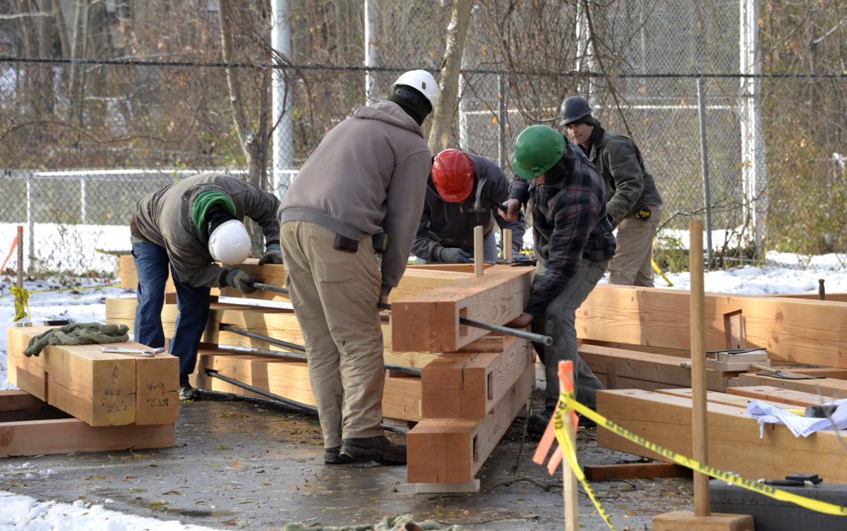 Jeff, Rick, Owen, Sam, and Mike worked together to preassemble the RCN pavilion trusses on raising day.