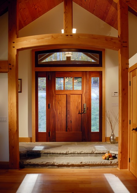 Reclaimed Jarrah was crafted for the main door of one of our timber frame homes in the Catskills.