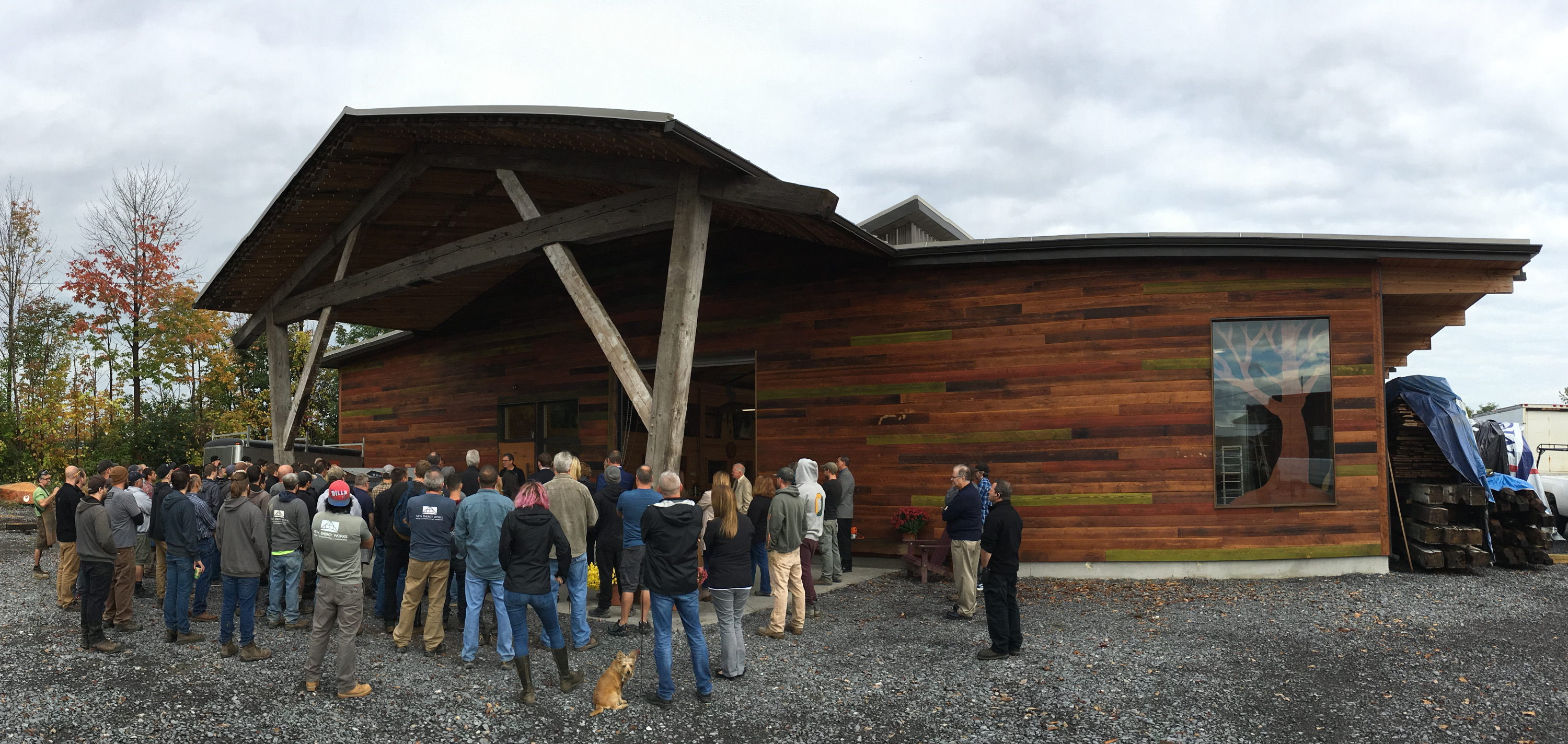 Gathering for the ribbon cutting official opening of our Cross Laminated Timber building.