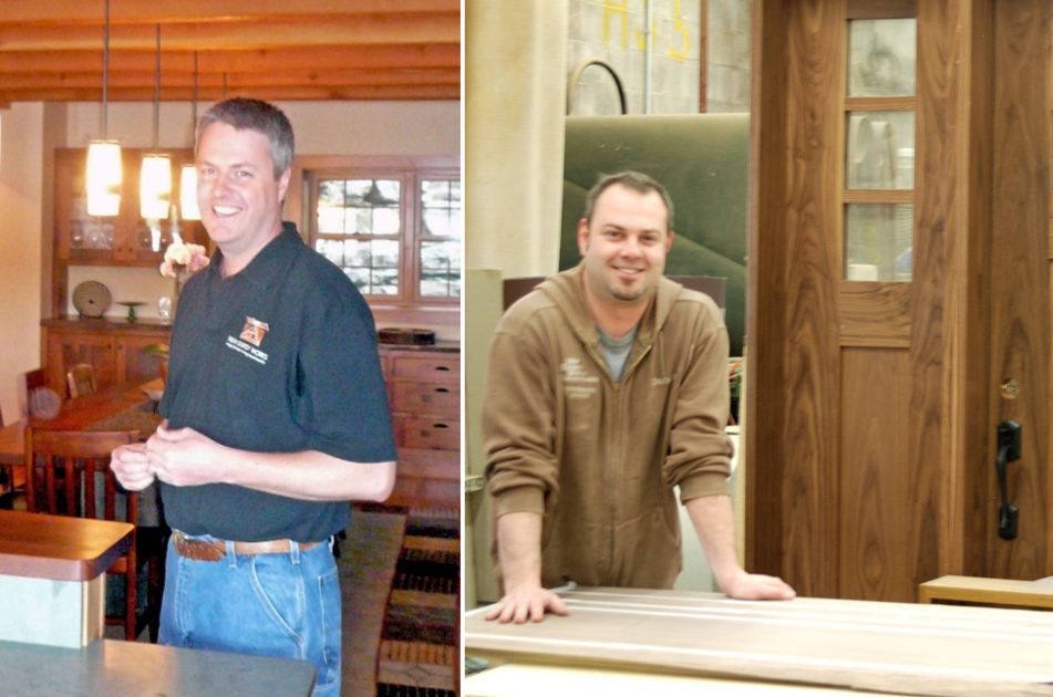 Rob (left) and Jay (right) talk custom wooden entry doors.
