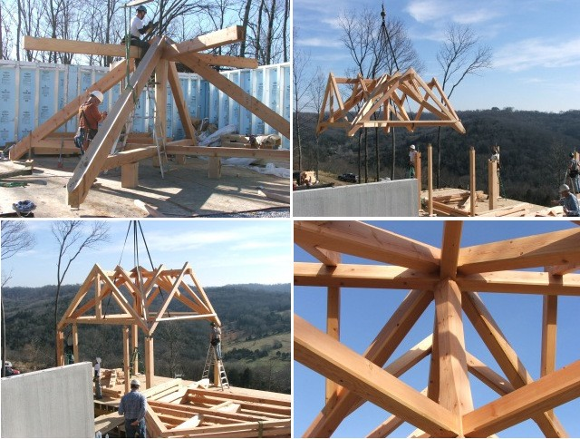 One of Drake's projects in Gordonsville, Tennessee included a timber frame roof system with four valleys joined to four posts, four pairs of rafters, and four pairs of jack rafters. This complexity earned it the nickname 'spider' in the shop and on the job site.